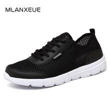 MLANXEUE/Мужская обувь, летние кроссовки, дышащая модная повседневная обувь с сеткой, для влюбленных пар, мужская обувь с сеткой, большие размеры, обувь на шнуровке