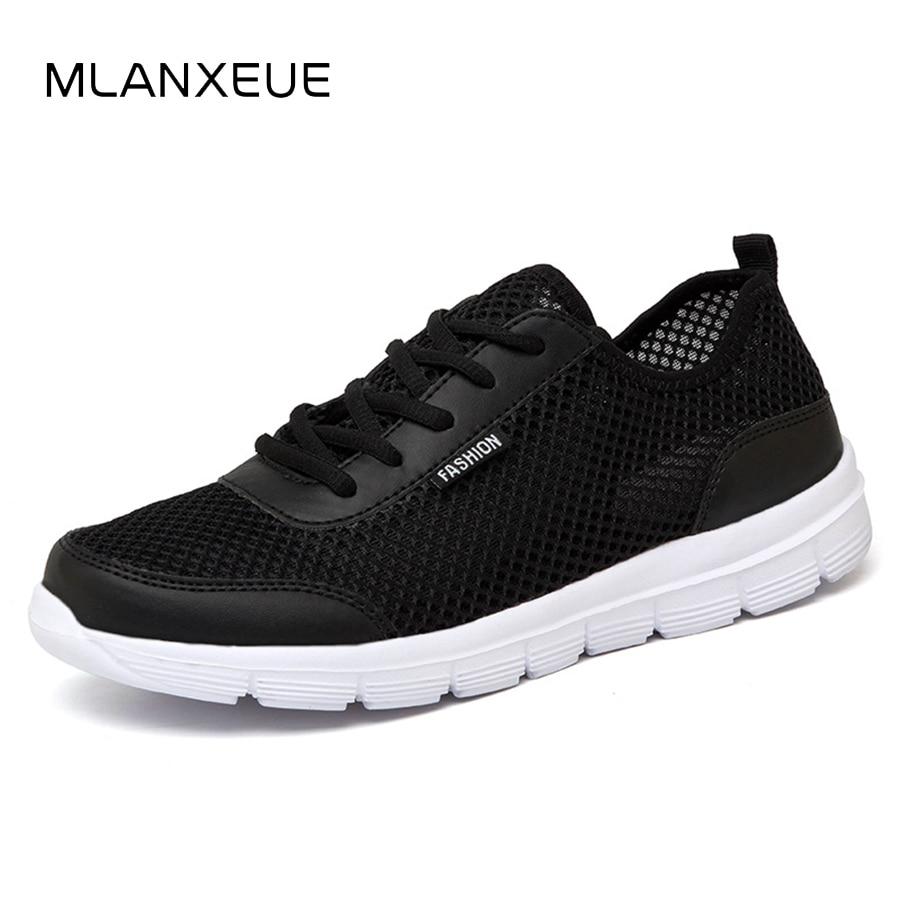 MLANXEUE Men Shoes Summer Sneakers Breathable Fashion Mesh Casual Shoes Couple Lover Mens Mesh Shoes Big Plus Size Lace up Shoe