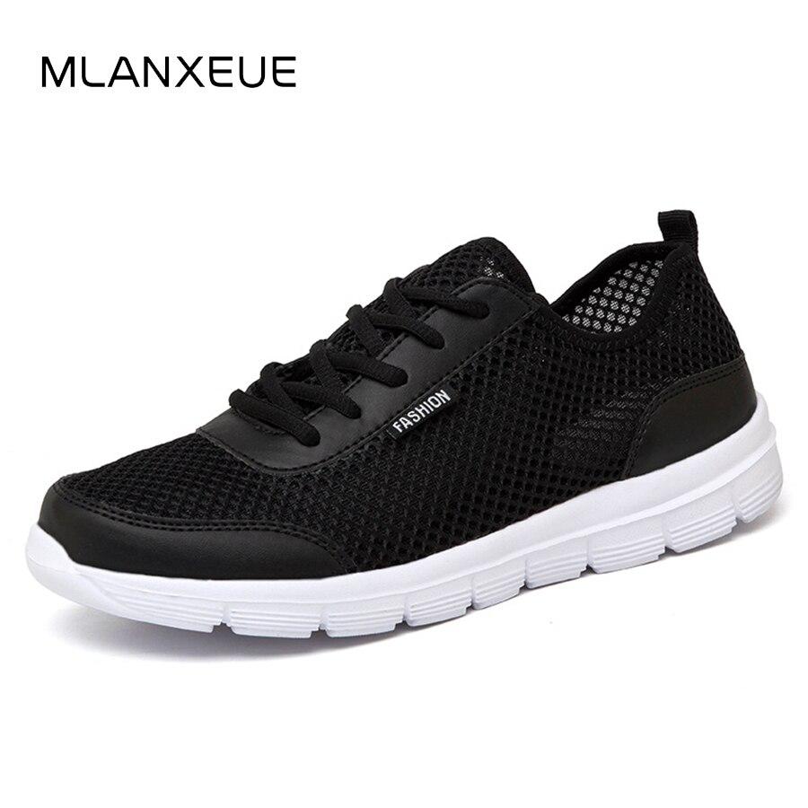 MLANXEUE hombres verano Zapatillas moda transpirable malla zapatos casuales pareja amante Mens malla grande más el tamaño de encaje zapato
