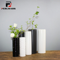 Brief Modern Home Decoration Cylindrical Vase White Black Vase Ceramic Planters Tabletop Hydroponic Flowerpot Ikebana Containers