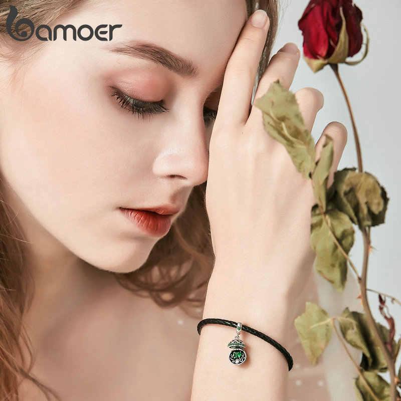 BAMOER Authentic 925 Sterling Silver Amor Caixa de Presente Bola Balançar Charme Pingente fit Mulheres Charm Bracelet & Colares de Jóias SCC689
