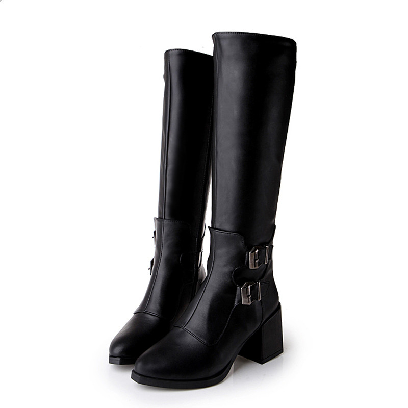 MEMUNIA Pointed toe fashion shoes woman knee high boots PU soft leather high heels shoes spring autumn womens boots size 34-43