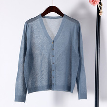 Shuchan 2019 New Cardigan Women Linen Thin V-neck Single Breasted Womens Sweaters Summer Longh Sleeve Feminino Tops