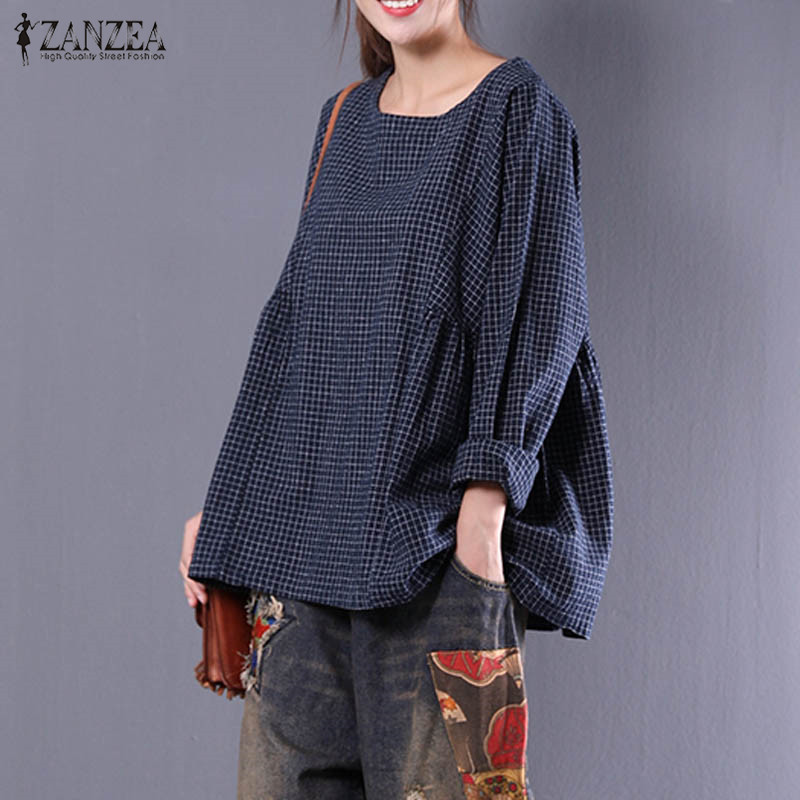 ZANZEA 2018 New Women Retro Cotton Linen Work Blouse Round Neck Long Sleeve Shirt Blusas Loose Casual Plaid Pullover Plus Size