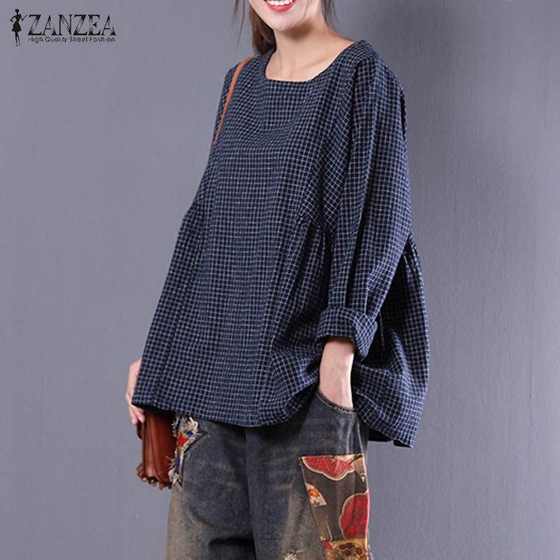 ZANZEA 2019 New Women Retro Cotton Linen Work Blouse Round Neck Long Sleeve Shirt Blusas Loose Casual Plaid Pullover Plus Size