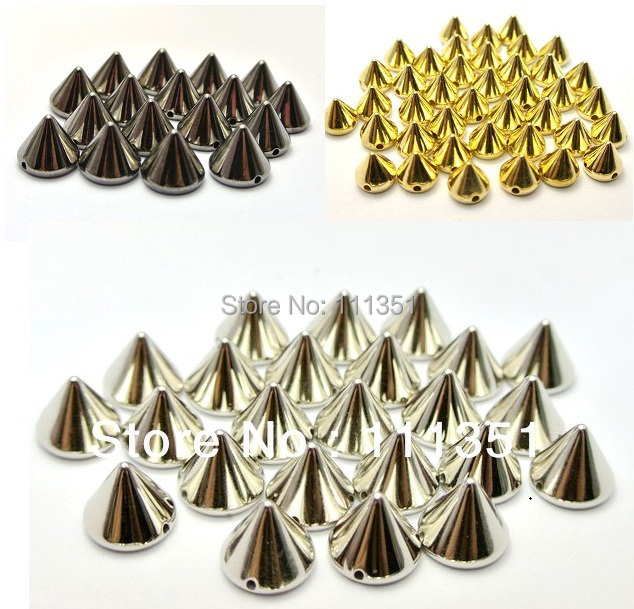 500pcs 8mmx6mm BlackGoldSilver  Cone  Studs Spots Punk Rock Nailheads DIY Spikes Bag Shoes Bracelet