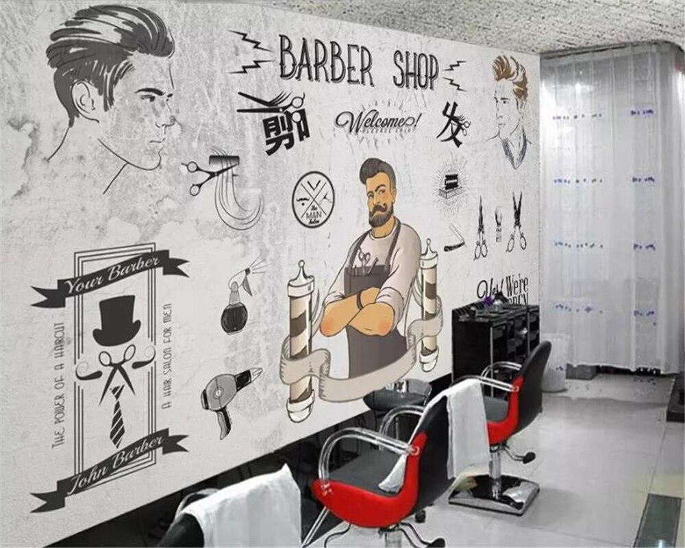 Beibehang Custom Wallpaper 3d Murals European And American Trend Barber Shop Beauty Shop Cement Wall Background Wall Paper Mural