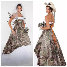2019 Camo Wedding Dresses Satin Country Cowgirls Bridal Sweep Train Plus Size Camouflage Corset Lace Up