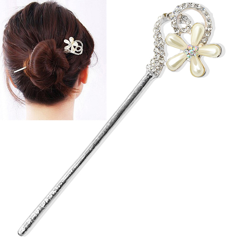 Fancy Crystal Simulated Pearl Flowers 1 Leg & Double Leg Silver Hair Stick Fashion Hairpins Headwear Women
