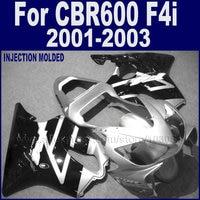 ABS plastic motorcycle fairings kits for Honda 2001 2002 2003 CBR 600 F4i 01 02 03 cbr 600 f4i black silver fairing body parts