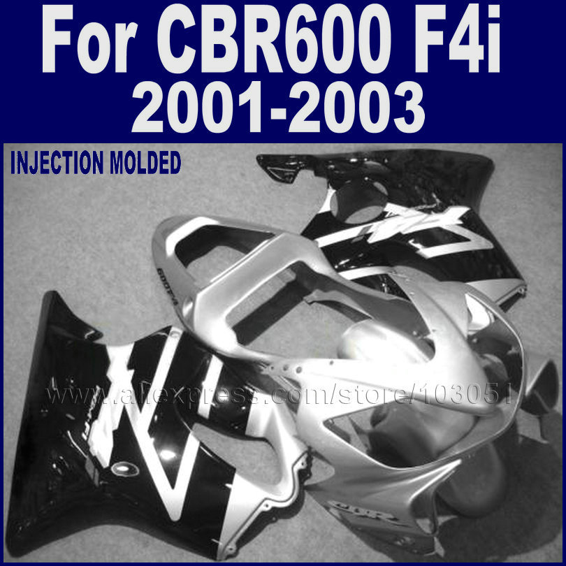 ABS plastic motorcycle fairings kits for <font><b>Honda</b></font> 2001 2002 2003 CBR 600 F4i 01 02 03 cbr 600 f4i black silver fairing body <font><b>parts</b></font> image