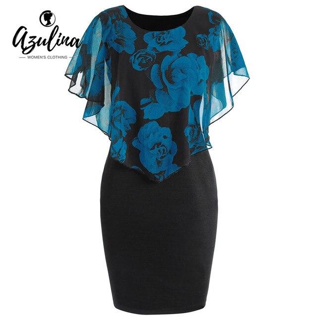 AZULINA женское платье плюс размер Роза Валентина Наложение Capelet облегающее платье 2018 повседневное Рабочая вечерние OL платья Vestidos De Fiesta