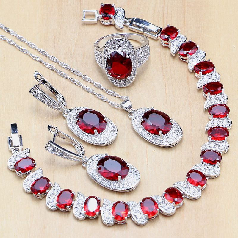 Red Stone White Zircon 925 Sterling Silver Jewelry Sets For Women Wedding Earrings/Pendant/Ring/Bracelet/Necklace Set a suit of elegant red rhinestone bamboo necklace bracelet ring and earrings for women