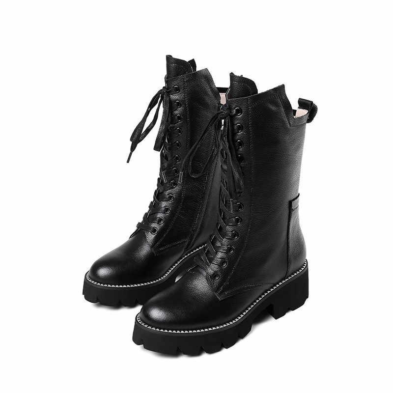 ASUMER siyah moda sonbahar kış çizmeler kadın zip çapraz bağlı orta buzağı çizmeler kare topuk klasik bayanlar hakiki deri çizmeler