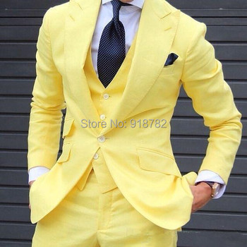 Yellow 3 Pieces Men Suits 2018 Custom Made Latest Coat Pant Designs Fashion Men Suit Wedding Grooms Man Suit Jacket+Vest+Pant