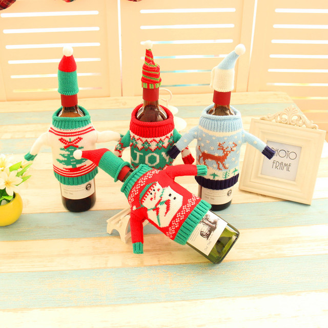christmas decoration supply sweater bottle cover christmas wine bottle decorations knitted christmas bottle cover