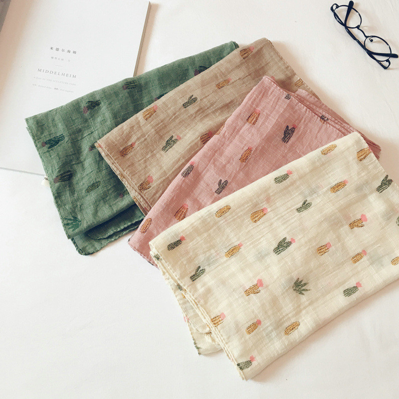 Korean Casual Cotton Linen Print Cactus Soft Warm Autumn Thin Kids Children Boys Girls Shawl Scarves Accessories-LHC