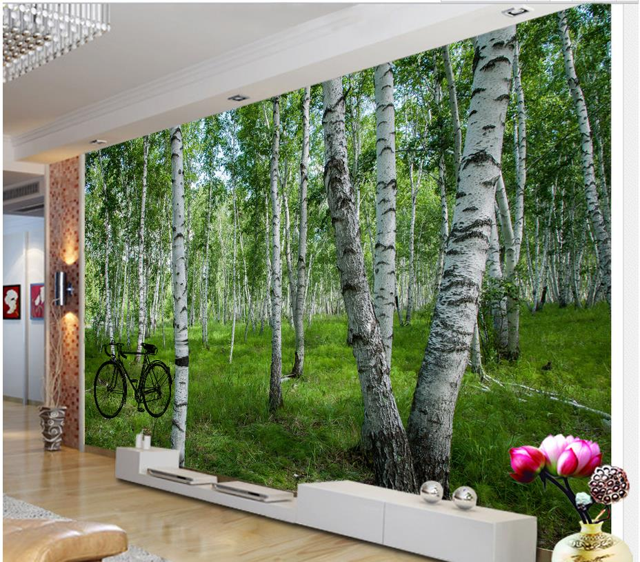 3d bathroom wallpaper home decoration 3d wallpaper for for Birch wall mural