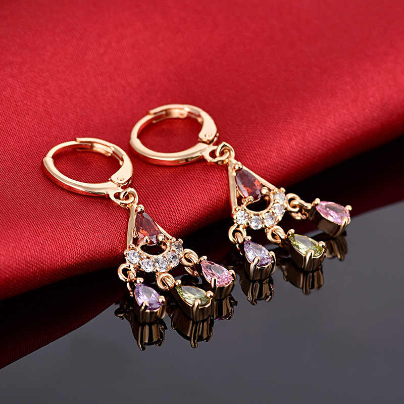 Роскошные женские радужные серьги с короной, модные милые цветные каменные серьги, двойные длинные серьги-кольца для женщин