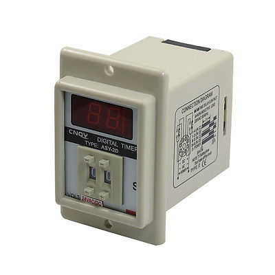 White AC/DC 24V Power on Delay Timer Time Relay 0.1-9.9 Second 8 Pins ASY-2D стоимость