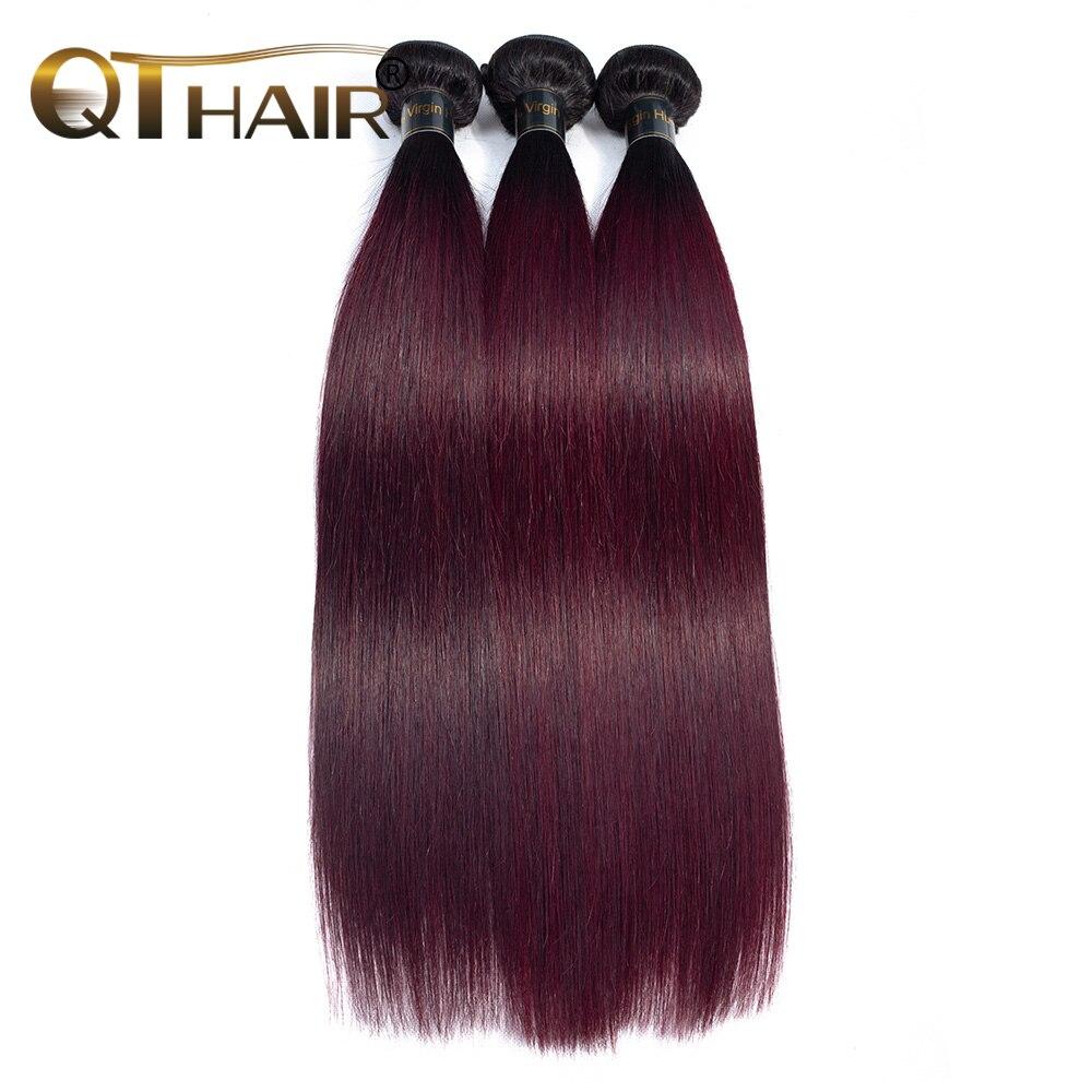 QThair Ombre Professional 1B 99J Burgundy 3 Bundles Dark Wine Red 100 Human Hair Bundles Brazilian