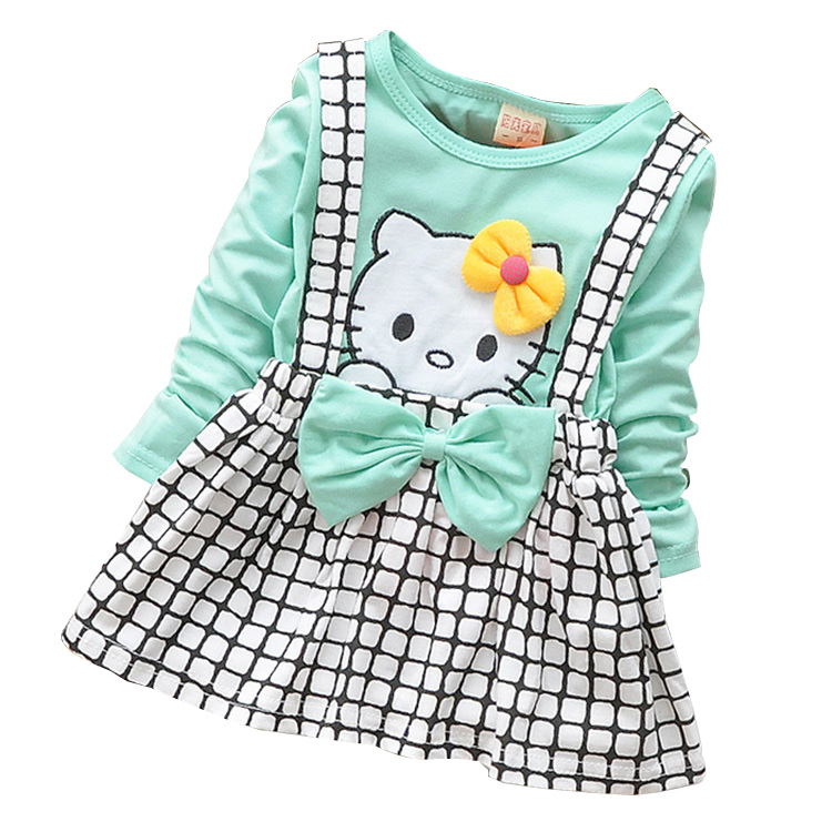 2017 Spring Summer KT Cat Baby Girl Dress Long Sleeve 1 Year Baby Birthday Dress Strap Plaid Infant Girl Dresses