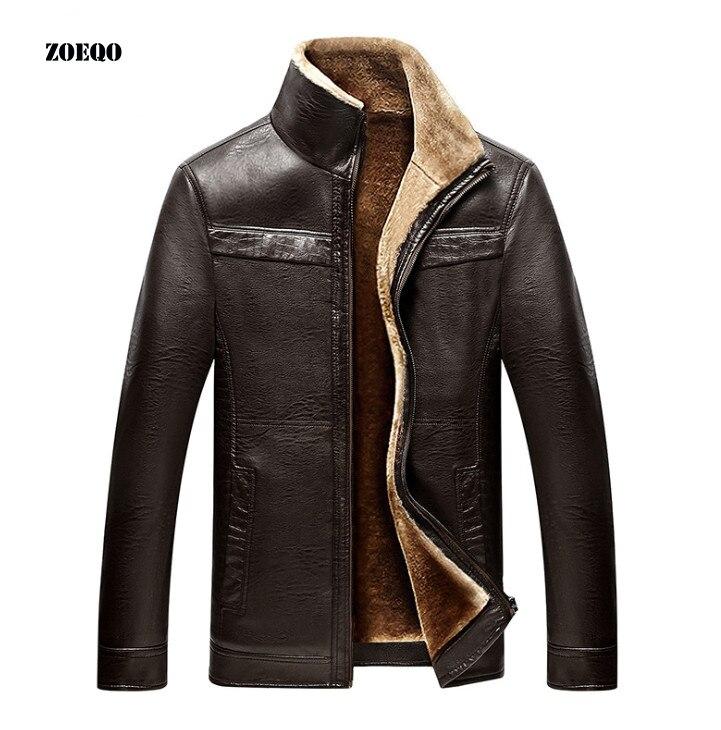 ZOEQO skórzana kurtka męskie płaszcze plus rozmiar marka wysokiej jakości PU odzieży wierzchniej mężczyźni biznes jesień zima Faux futro mężczyzna kurtka polar w Płaszcze ze sztucznej skóry od Odzież męska na  Grupa 1