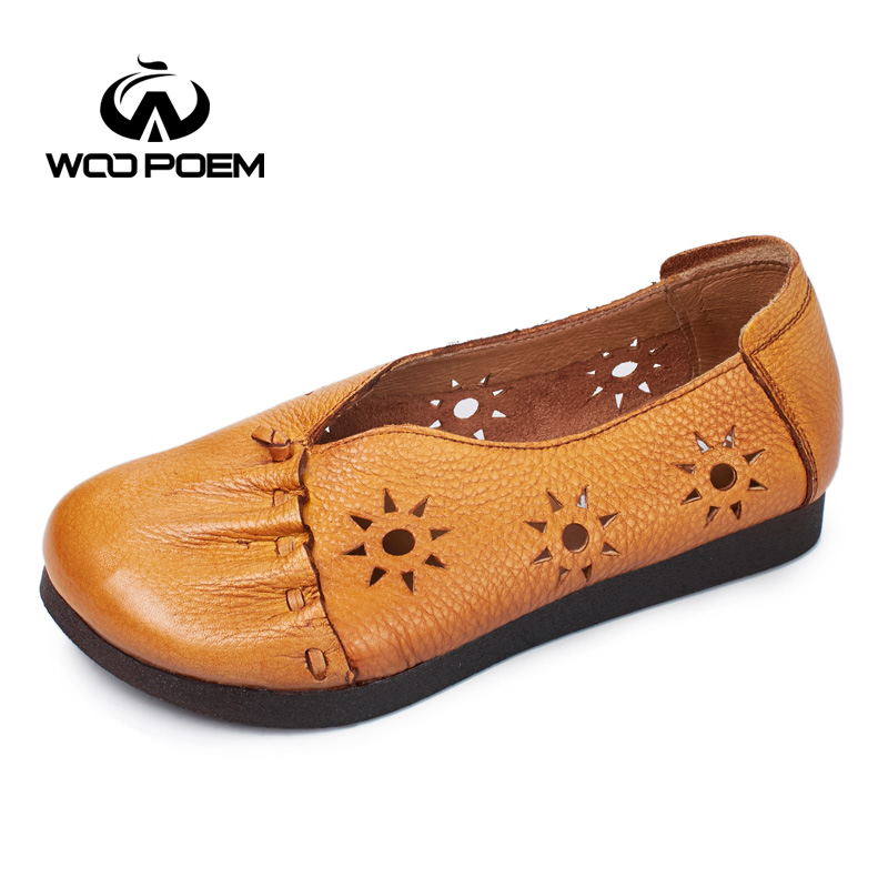 WooPoem Breathable Hollow Genuine Leather Flats Spring Autumn Cowskin Shoes Woman Low Heel Pleated Slip-On Women Shoes 7032 woopoem 2017 spring shoes woman breathable genuine leather shoes high heel ankle boots for women hollow summer boots 7091
