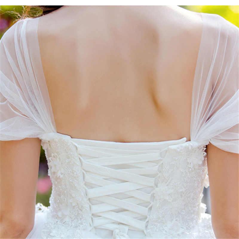 זה YiiYa סקסי לנשף שמלה ואגלי אפליקציות תחרה לבן פורמליות שמלות נשף כבוי כתף שכבות עיצוב LongTrain Paty שמלות E167