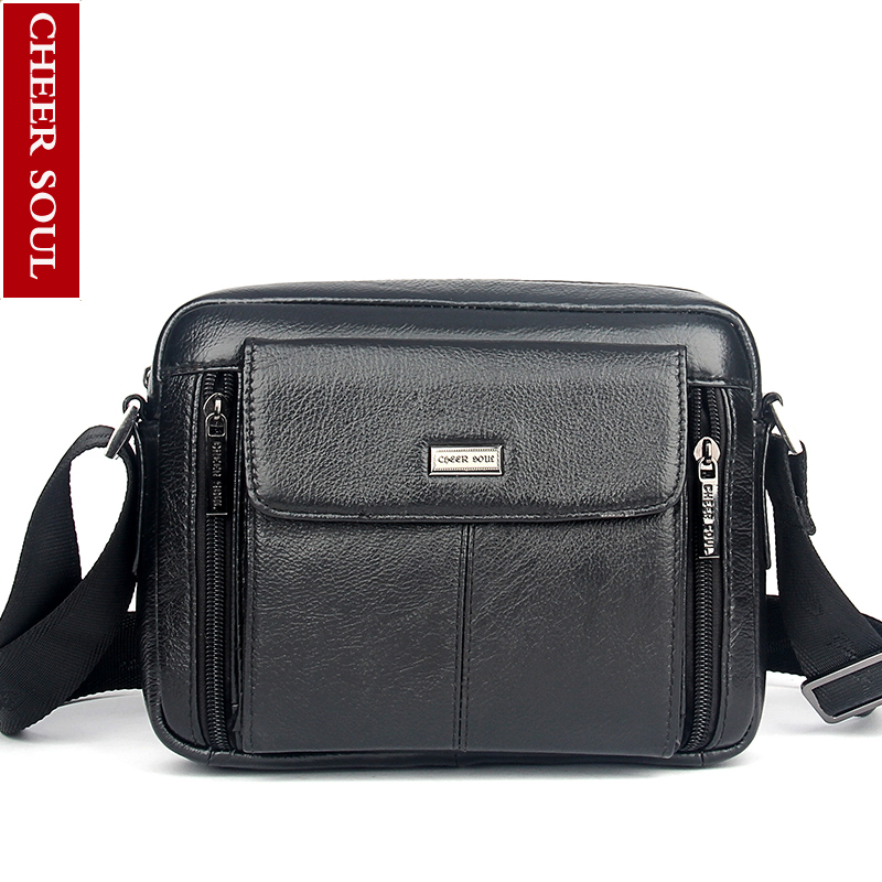 Genuine Leather Men Bag Fashion Cowhide Leather Men Hangbag Two Size Business Bag Shoulder Bag Messenger Bag