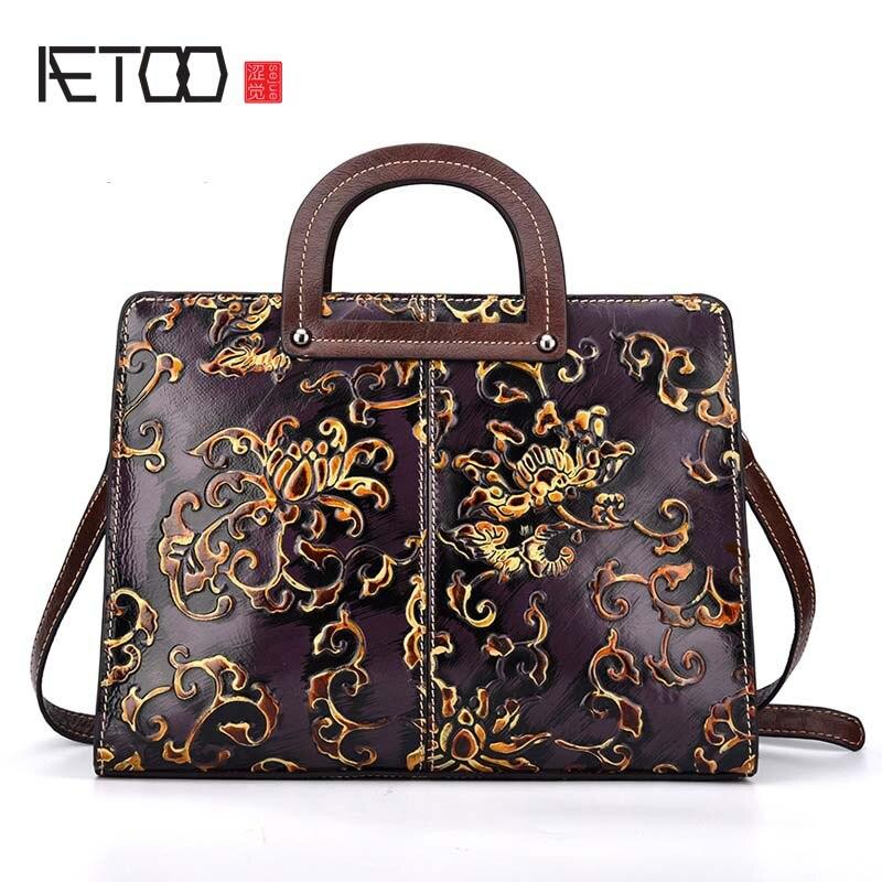 AETOO brand New leather embossed genuine leather handbag brush color retro elegant handbag Leather Shoulder Bag Messenger Bag
