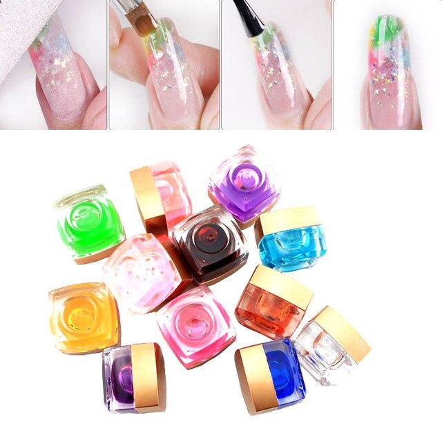 1 pcs UV Coloré Verre UV Gel DIY Arylic Nail Vernis À Ongles Art Décoration  Pur
