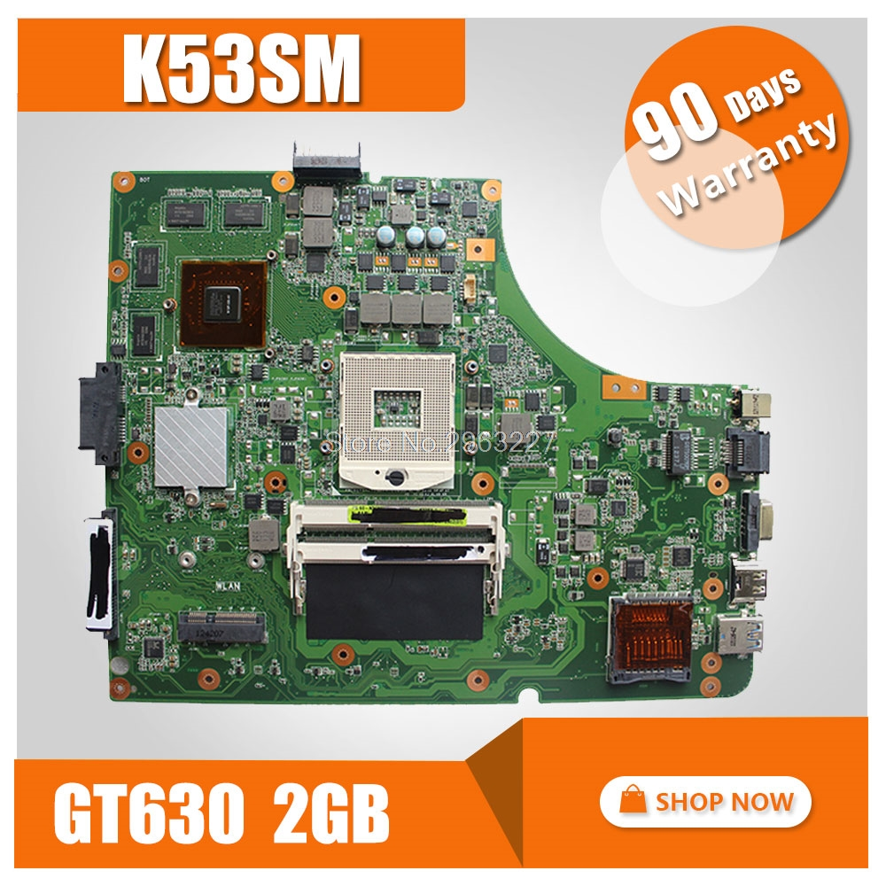 For Asus K53SM Fit X53S A53S K53SJ K53SC P53S K53SV laptop Motherboard with 8 pcs Graphics Memory Cards GT630M 2GB mainboard sheli k53sv motherboard for asus x53s a53s k53sj k53sc p53s k53sm k53sv laptop motherboard 2 1 2 3 3 0 3 1 original tested