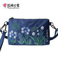 Цветок принцесса бренд Модные женские Нейлон Вышивка Малый плечо сумка через плечо для девочек-подростков портативный клатч браслет
