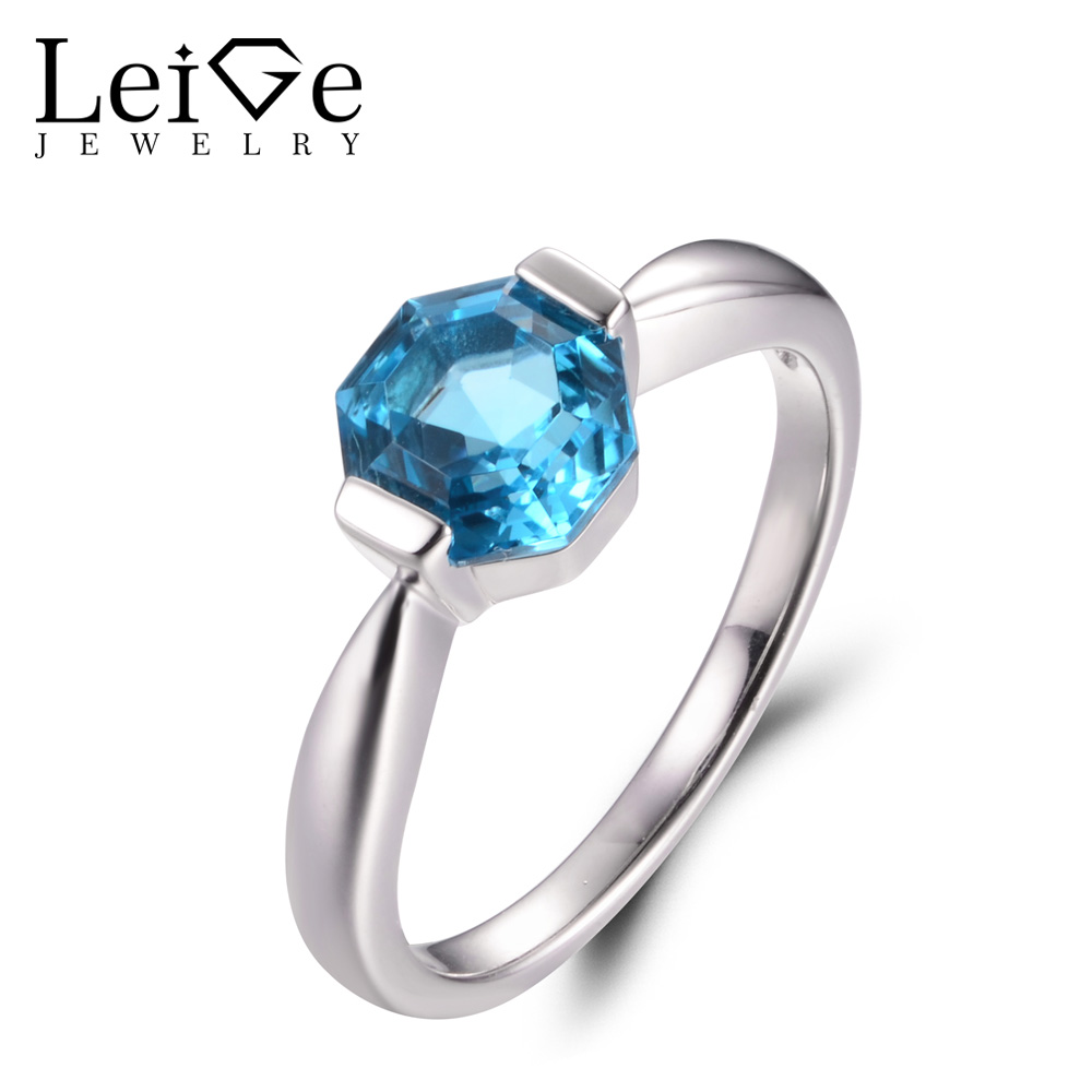 Leige Jewelry Real Swiss Blue Topaz Rings November Birthstone Octagon Cut Wedding Bands Solitaire Rings For Woman 925 Silver