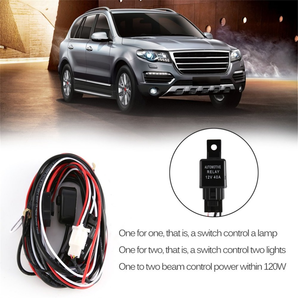 12V 40A LED HID FOG Work Driving Light Wiring Loom Harness Switch Relay for 120W-300W for Indoor & Outdoor Use