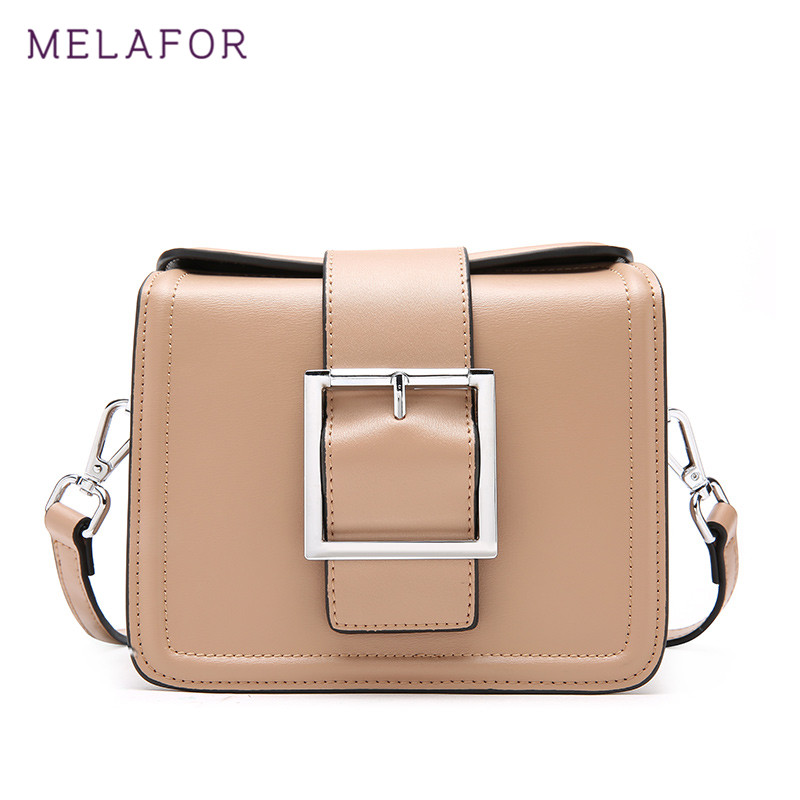 MELAFOR 2018 Fashion Shoulder Bag Women Small Square Genuine Leather Package Flap Handbag Ladies Crossbody Female Bags G75090 genuine leather studded satchel bag women s 2016 saffiano cute small metal rivet trapeze shoulder crossbody bag handbag