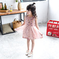 3-7T Summer Girl Dress kids Girl Floral Sleeveless Dresses Kids Baby Princess Birthday Party Princess Chiffon Fairy Dress QZ0029