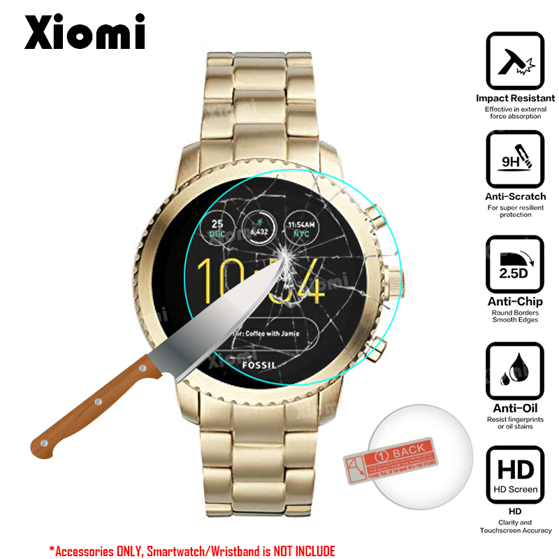 For Smart Watch Fossil Q Explorist Gen 3 Stainless Steel Smartwatch Screen Protector Cover Tempered Glass Protective Film Guard crystal clear lcd screen protector film cover for ipegtop z26 smart phone