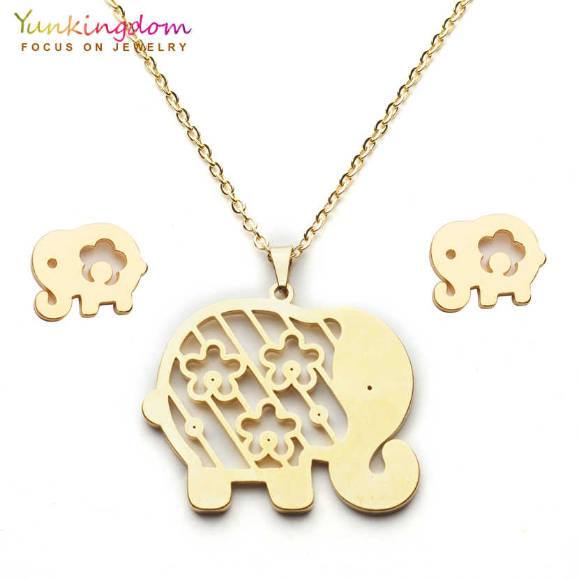 Yunkingdom lovely animal elephant stainless steel Nigerian jewelry sets pendant necklace stud earrings for women  UE0257