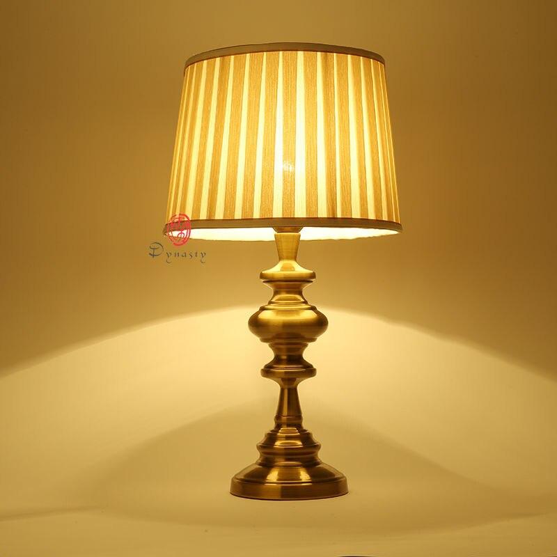 Vintage Brass Modern Decoration Table Lamp E27 Bedroom Bedside Nightstand  Desk Lights Abajur Fixture Cafe Shop