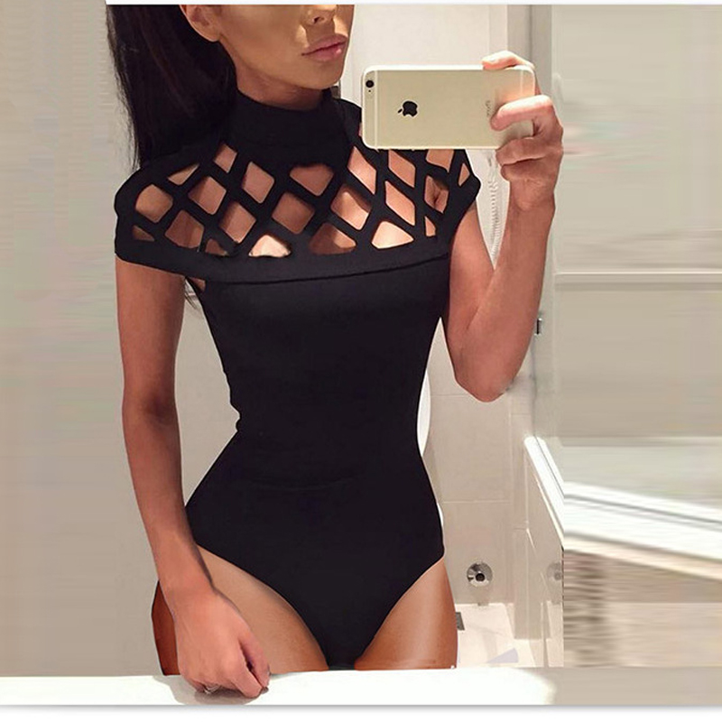 2018 Summer New Womens Fashion Sexy Nightclubs Solid Color Hollow Three-tailed Tight Body Piece Black Fishnet Jumpsuits ...