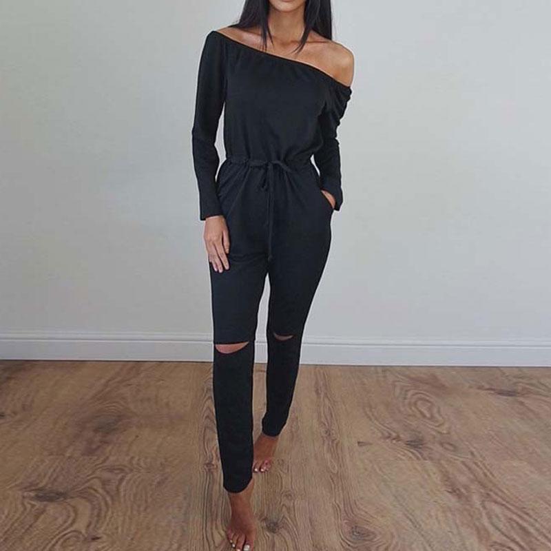 Elegant Jumpsuit Long RoG ROM Long-Sleeve Autumn Off-Shoulder Womens Leotard High-Waist