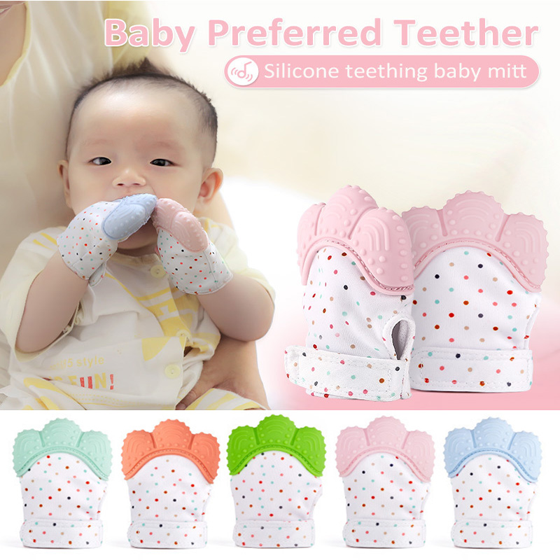 Baby Mitts Teething Gloves Silicone Molar Mitten Chewable Nursing Infant Pacifier Chain Nipples Anti-bite Stop Sucking Thumb Toy