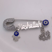 turkish evil eye Mashallah Stainless steel brooch Allah hamsa hand of fatima islam muslim baby pin