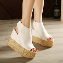2016 new designer women shoes wedge sandals fish mouth Bohemia Solid waterproof platform high heels Rome shoes woman sandals