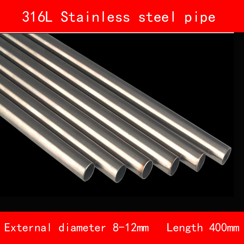 316L Stainless steel Pipe Outside Diameter 8mm 10mm 12mm Wall Thickness 1mm 1.5mm Length 400mm include nickel 304 stainless steel pipe tube outer diameter 20mm wall thickness 1 5mm length 200mm