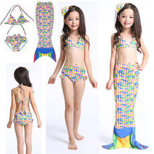 GLANE Brief 2017 New Girls Kids Mermaid Tail Swimmable Bikini Set Swimwear Swimsuit Costumes US STOCK Beachwear Beach SummerCute