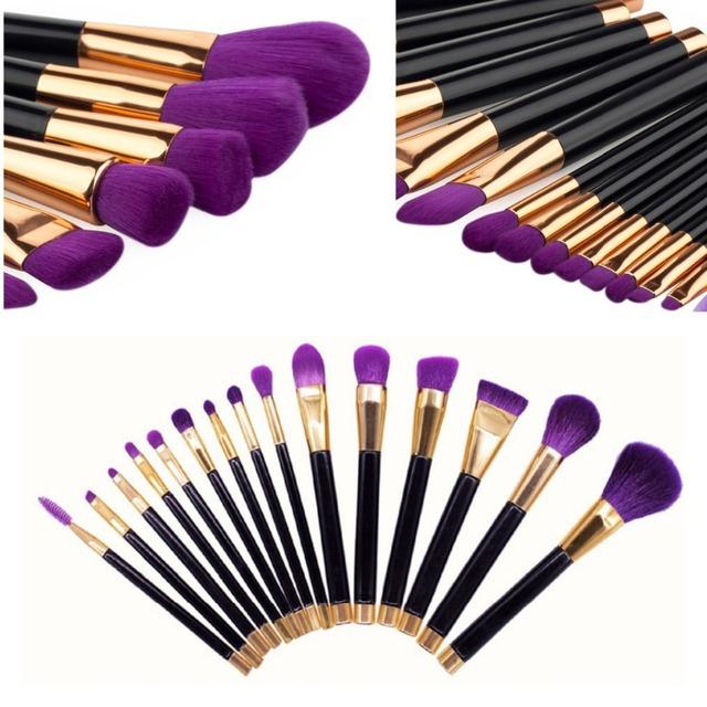15 Pcs Roxo Professional Make Up Brushes Set Fundação Blush Em Pó Escova Da Sombra De Mistura Ferramentas Kit Pincel de Maquiagem Cosméticos