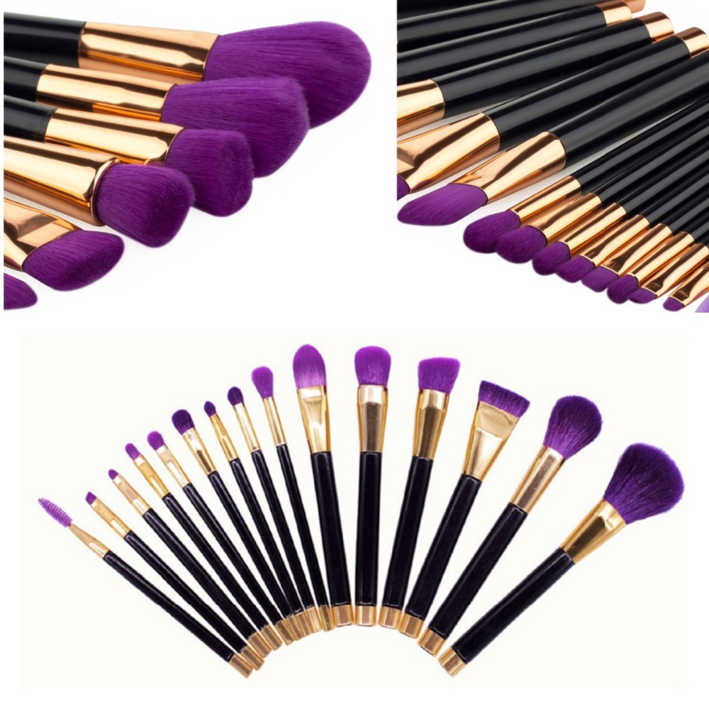 15Pcs Purple Professional Make Up Brushes Set Foundation Blusher Powder Eyeshadow Blending Brush Tools Kit Cosmetic Makeup Brush 7pcs rainbow makeup brushes set cosmetic foundation eyeshadow blusher powder blending smooth brush cosmetic tools make up